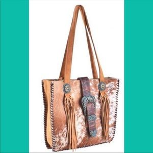 Handbags - Hair on Hide-Genuine Leather Handbag